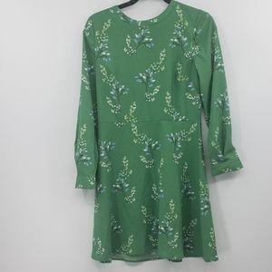 Ann Taylor loft green floral longsleeve dress